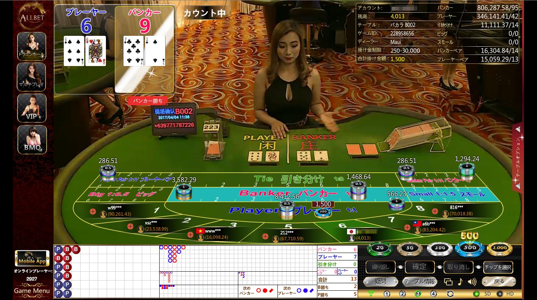 パイザカジノオールベットゲーミングのライブバカラテーブル画面の写真