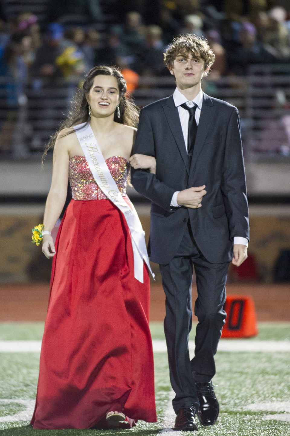 Homecoming queen candidate Maddi Butler and escort Keegan Adkins. Photo by Maya Bell.