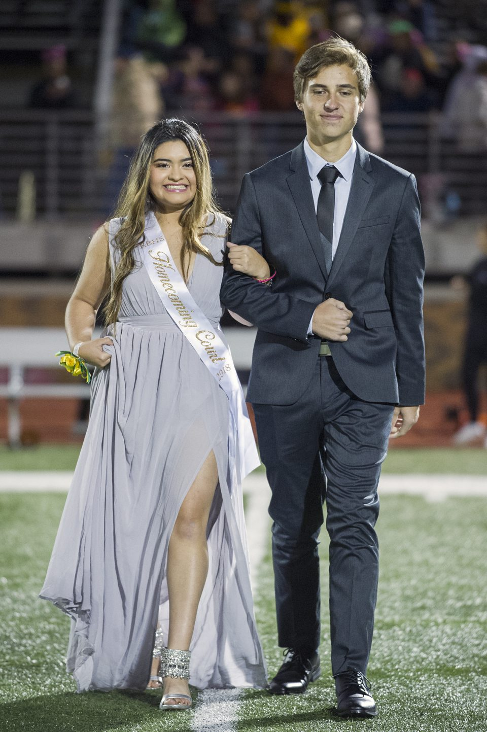 Homecoming queen candidate Anel Castro and escort Jacob Shaw. Photo by Maya Bell.
