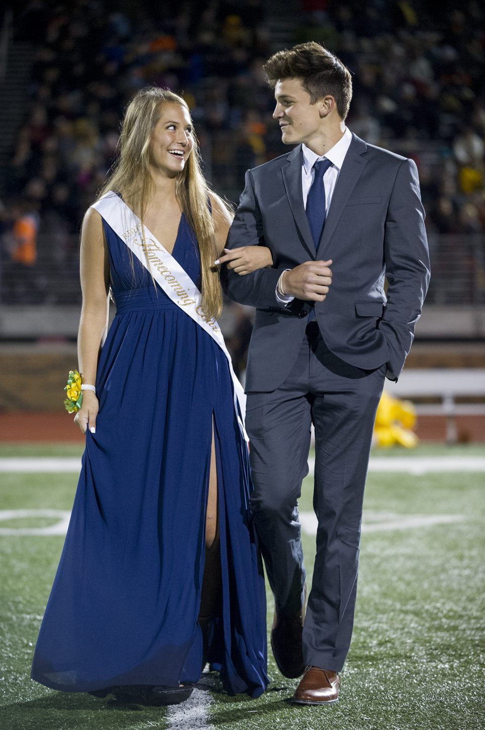 Homecoming queen candidate Adi Farris and escort Luke Bouchard. Photo by Maya Bell.
