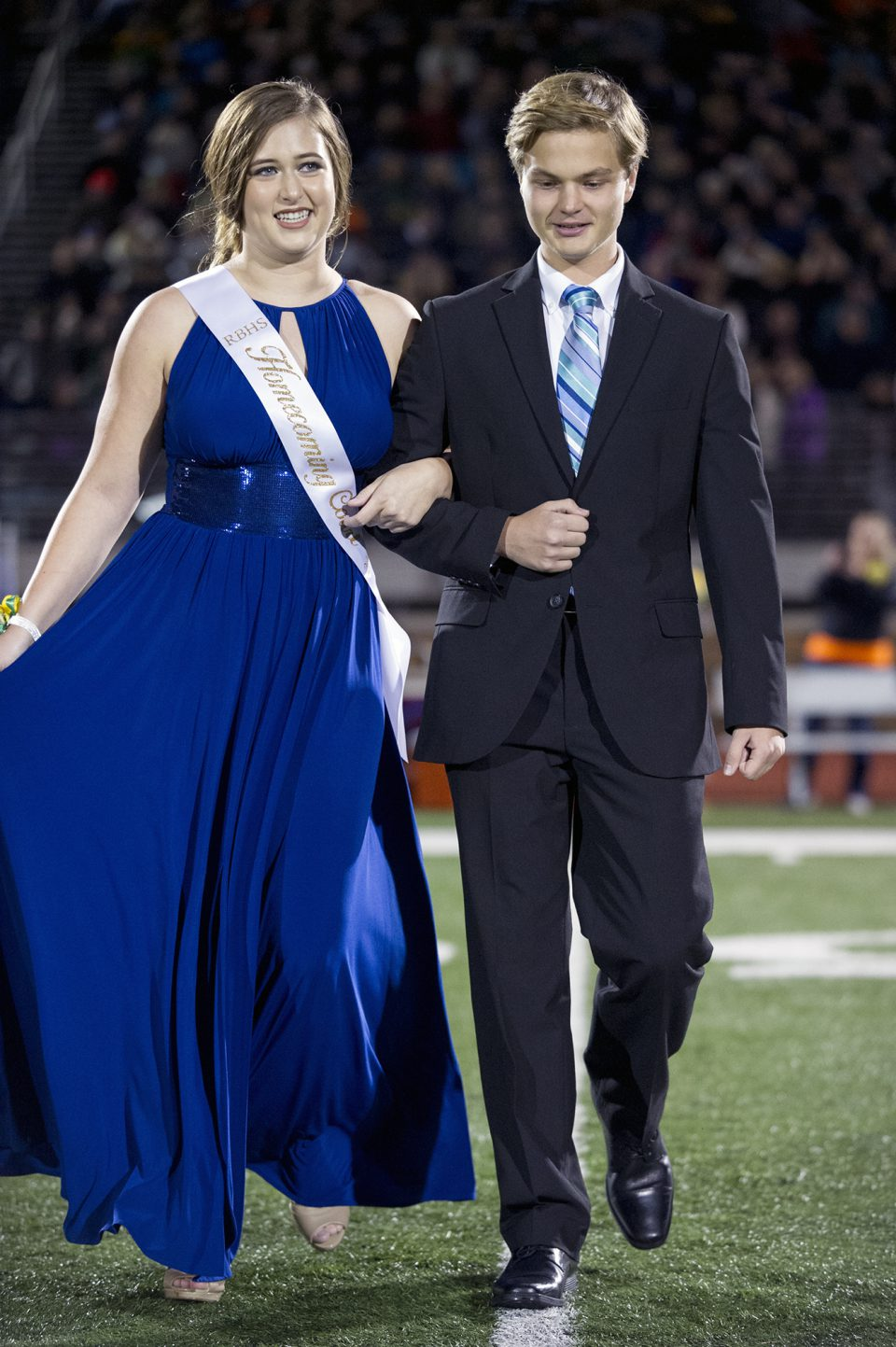 Homecoming queen candidate Riley Jones and escort Zach Bartman. Photo by Maya Bell.