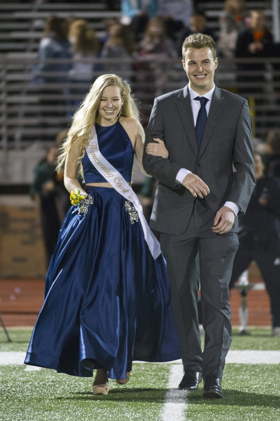 Homecoming queen candidate Aubrey Sanders and escort Matt Burns. Photo by Maya Bell.
