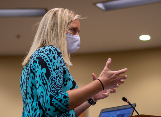 Dr Jennifer Ruckstad speaks in front of the Board of Education Oct 12. During her speaking time Ruckstad spoke on the unfair comparison between engagement and Instruction as well as the lack of credit given to teacher work ethic. Phtoto by Ana Manzano.