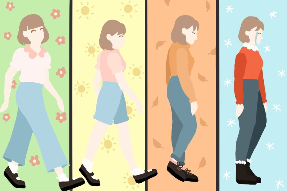 Girl walking through four panels representing the seasons. Progressively appears sadder as seasons become cold and dark. Art by Lorelei Dohm