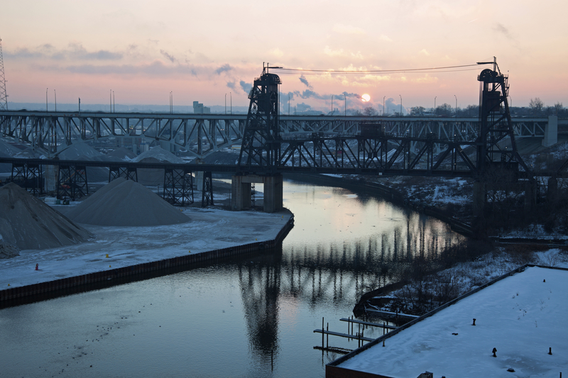 Image of the Cuyahoga River in an industrial area.