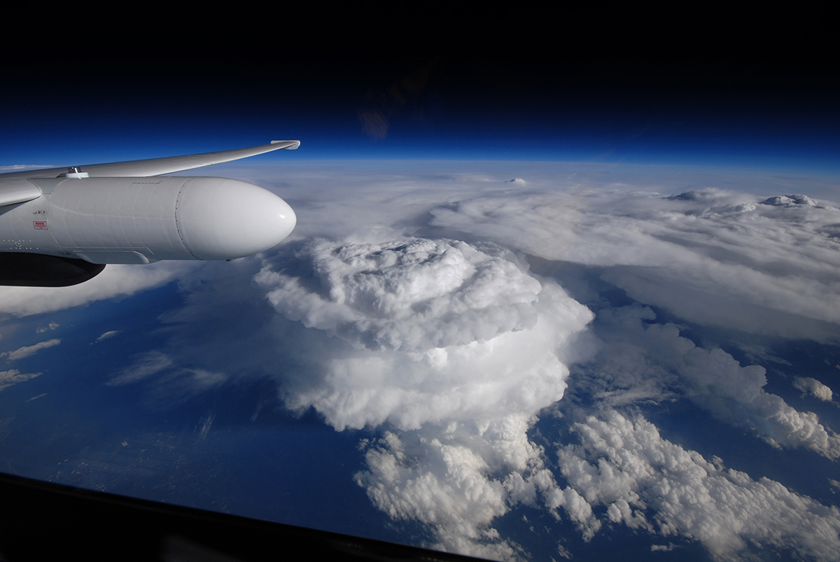 A North Carolina storm system is focused on by NASA's ER-2 during the IPHEx field campaign in May 2014. (Credit with permission: NASA Science)