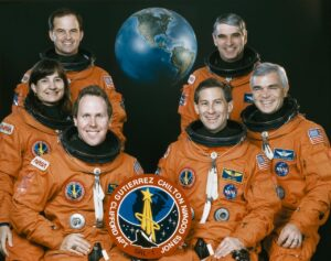 Linda Godwin (left side center) alongside other crew members part of the STS-59 space shuttle mission.