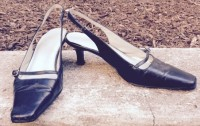 M&S slingback retro inspiration with square toe, buckle and kitten heel