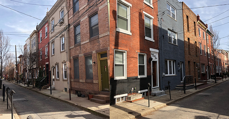 the doors of south philly row houses