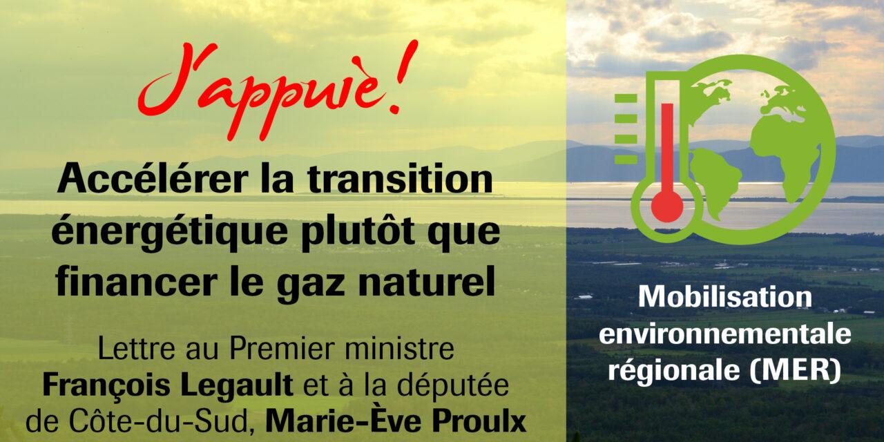 Accélérer la transition énergétique plutôt que financer le gaz naturel