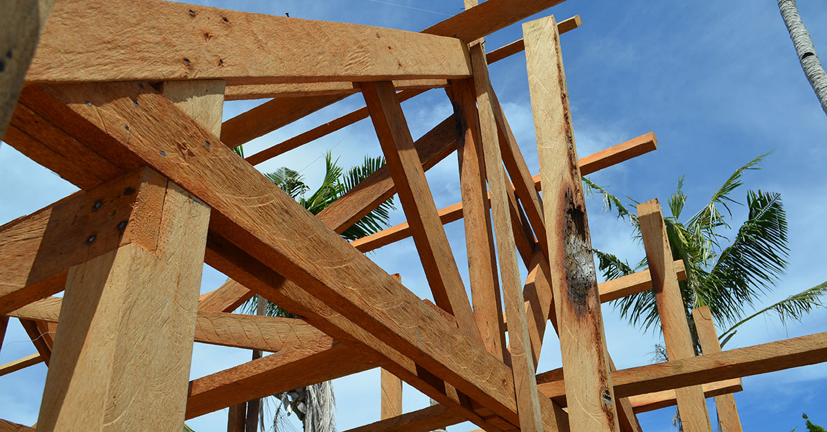 Timber roof truss under construction