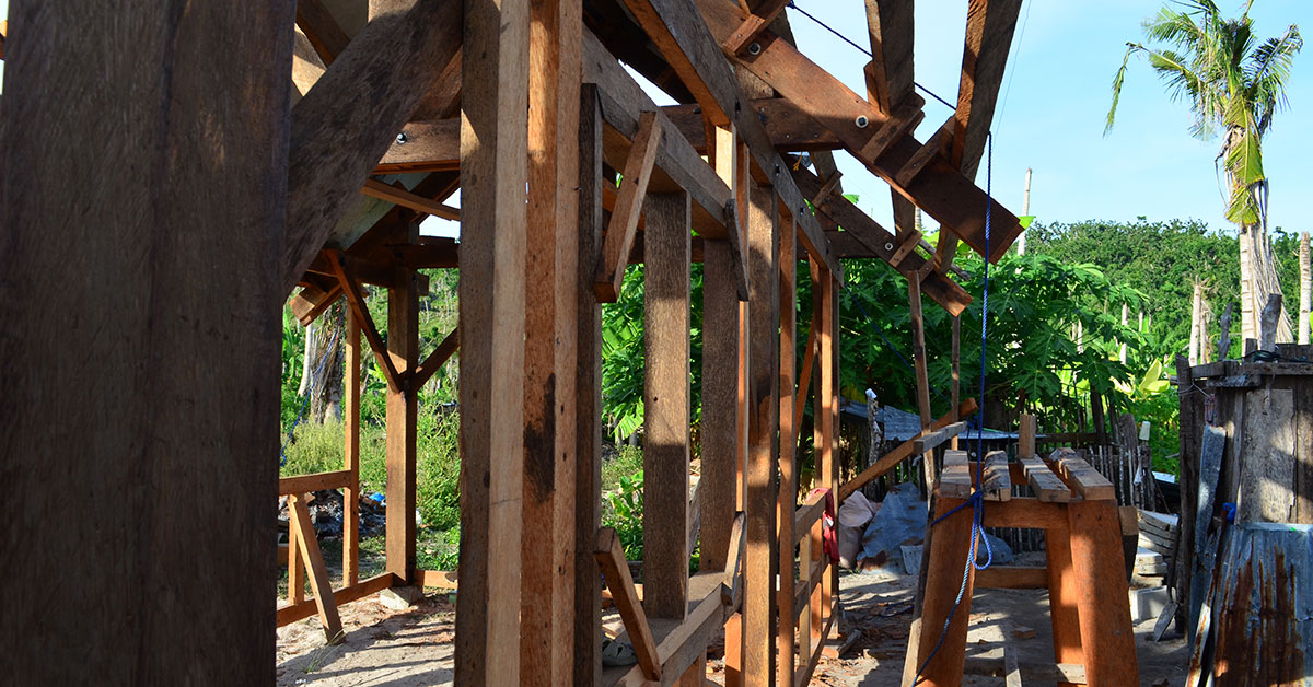 Timber framed wall of house under construction
