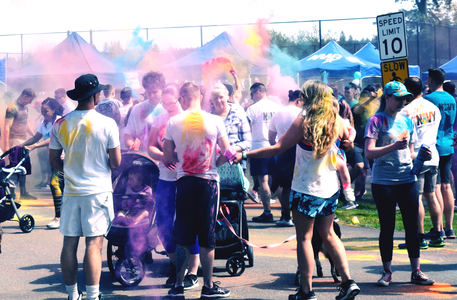 Naval Base Kitsap Sexual Assault Prevention and Response program staff members, supported by Kitsap Sexual Assault Center and Naval Hospital Bremerton, held their 'Almost 5K' Color Run, April 26, 2019. The fun run, which attracted several hundred participants, provided an active - and colorful - joint effort in continuing to raise awareness and connect runners, walkers, volunteers, and other members of the community to share the goal of creating a safe and secure environment free of sexual violence and harassment. The Navy has designated April as Sexual Assault Awareness and Prevention Month, (SAAPM), with various events throughout the area taking on proactive visible roles in both the military and civilian communities, including those that call for miles with smiles (Official Navy photo by Douglas H Stutz, Naval Hospital Bremerton Public Affairs).
