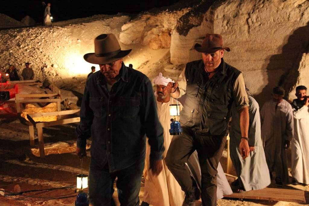 Josh Gates with Zahi Hawass on their way to opening a sarcophagus on live tv