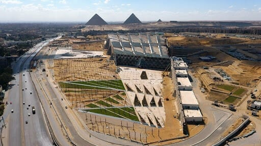 The New Grand Egypt Museum and The Pyramids
