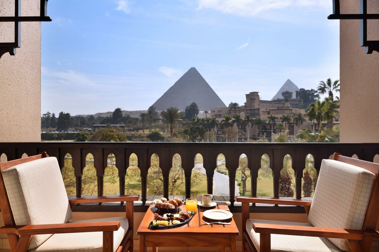 Balcony pyramids view from Mena House Hotel- Private Luxury Egypt tour package