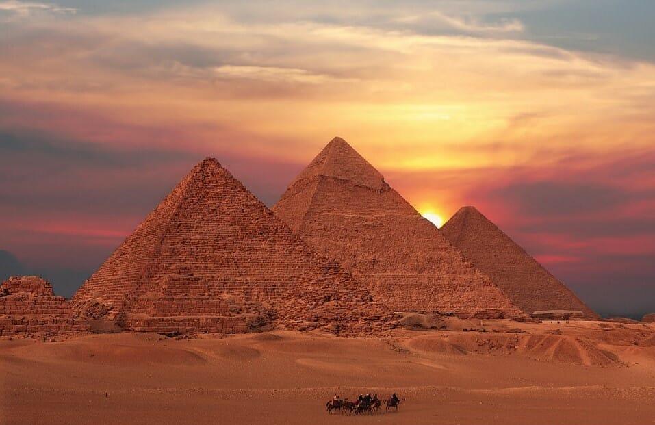 Sunset at the Giza Pyramids