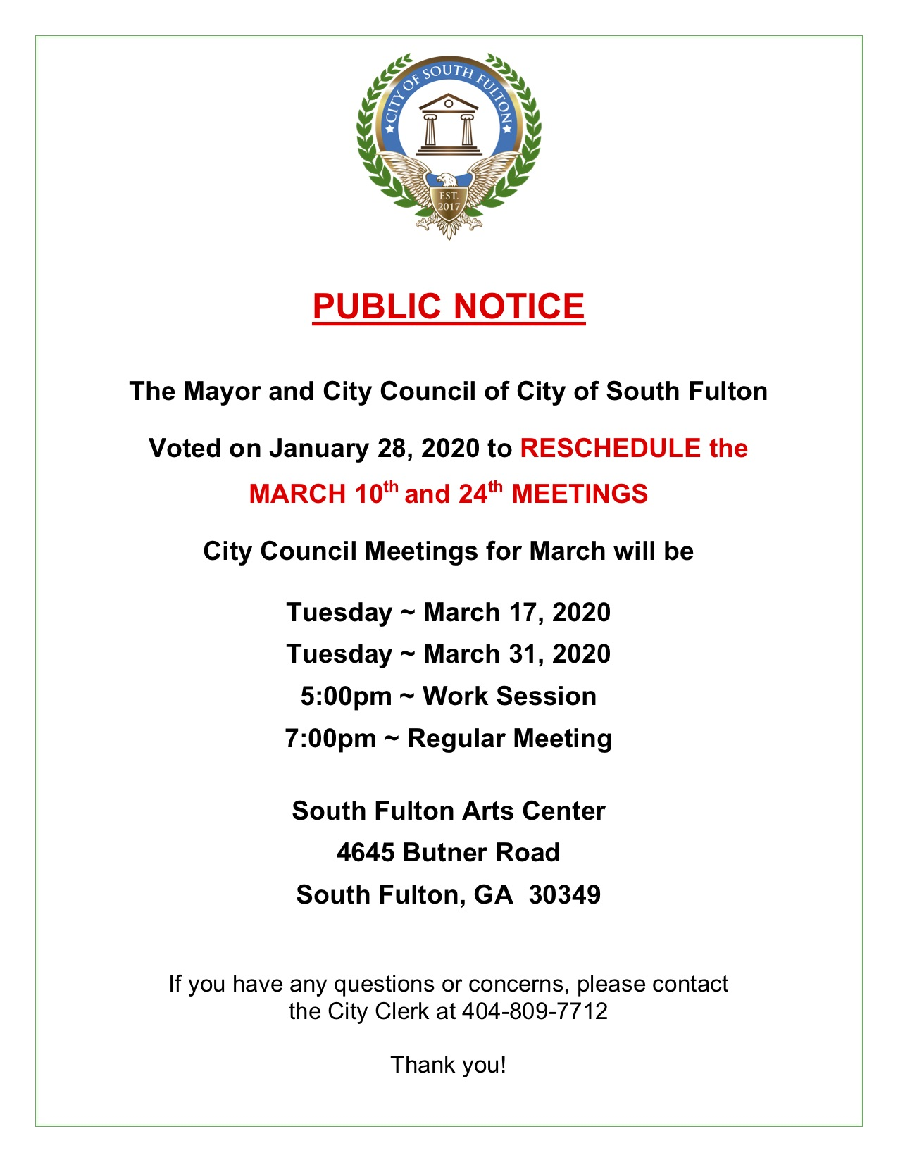 South Fulton Regular Meeting March Schedule