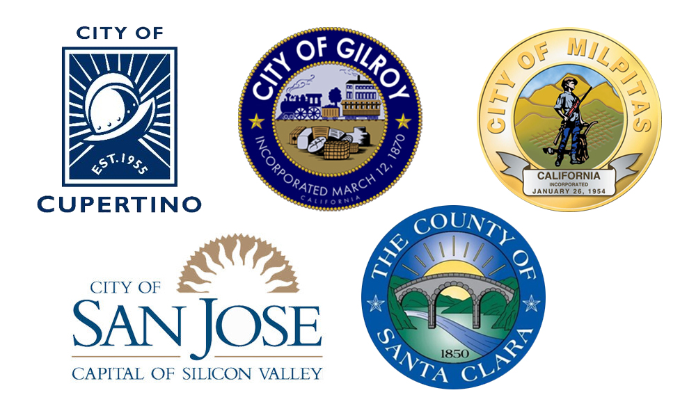 Repair Program City & County Logos -- Cupertino, Gilroy, Milpitas, San Jose & Santa Clara County