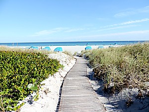 """Colony Hotel's private beach at Delray Beach. The historic hotel offers a true escape into the best of seaside """"Old Florida"""" © 2015 Karen Rubin/news-photos-features.com."""