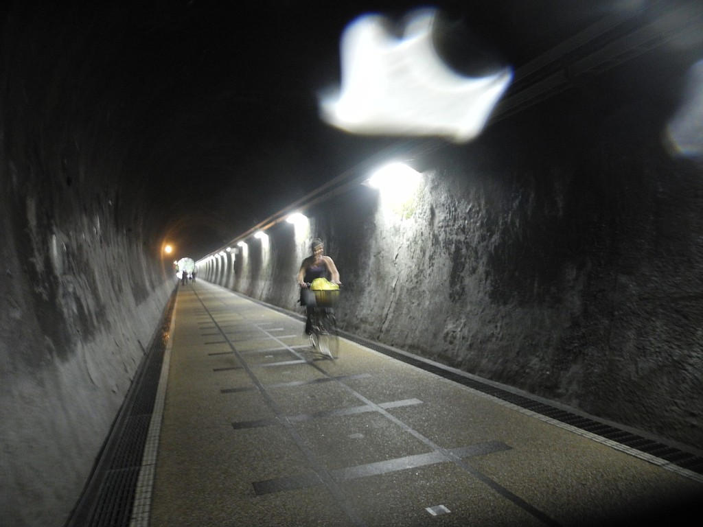 Biking through the Old Caoling Tunnel is an experience  © 2015 Karen Rubin/news-photos-features.com