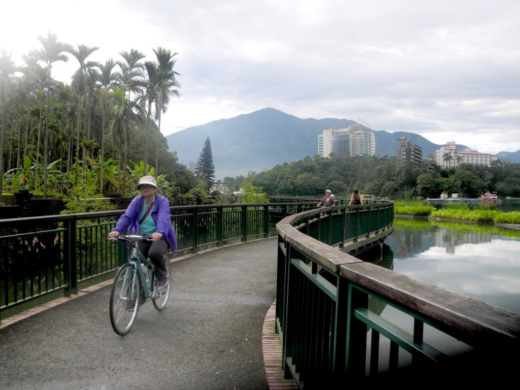 Sun Moon Lake is one of Taiwan's most spectacular bikeways, where parts bring you on bridges just above the water © 2015 Karen Rubin/news-photos-features.com