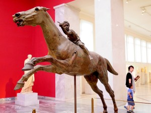 The stunning life-size bronze of an African boy jockey on a racehorse, one of only five bronzes to survive the ages, on view at the National Archeology Museum in Athens © 2015 Karen Rubin/news-photos-features.com