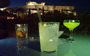 Cocktails at the Hedrion Hotel's Rooftop Garden Bar, with a splendid view of the Acropolis © 2015 Karen Rubin/news-photos-features.com