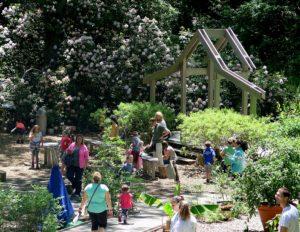 Children and parents engage in activities in the Hidden Hollow at Heritage Museum & Gardens  © 2016 Karen Rubin/news-photos-features.com