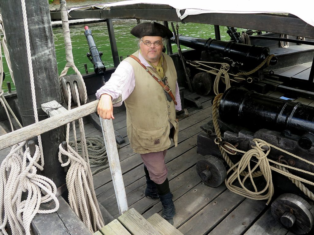 Come aboard the Philadelphia II, a replica of a Revolutionary War gunboat at the Lake Champlain Maritime Museum. Len Ruth portrays the first officer of the Philadelphia © 2016 Karen Rubin/news-photos-features.com