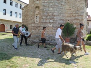 Parading a goat around the church of St. Naum © 2016 Karen Rubin/goingplacesfarandnear.com