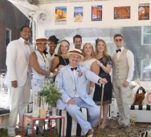 Enjoying the private Sheik of Araby Tent VIP Tent in true Gatsby-era style at 11th Annual Jazz Age Lawn Party © 2016 Karen Rubin/news-photos-features.com