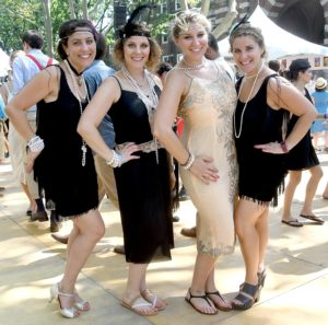 The Sokol Sisters –Evita, Stephanie, Katie and Ashley, from New York City get into the spirit of the Jazz Age Lawn Party © 2016 Karen Rubin/news-photos-features.com