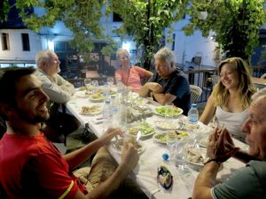 Enjoying dinner in Gjirokaster, Albania © 2016 Karen Rubin/goingplacesfarandnear.com