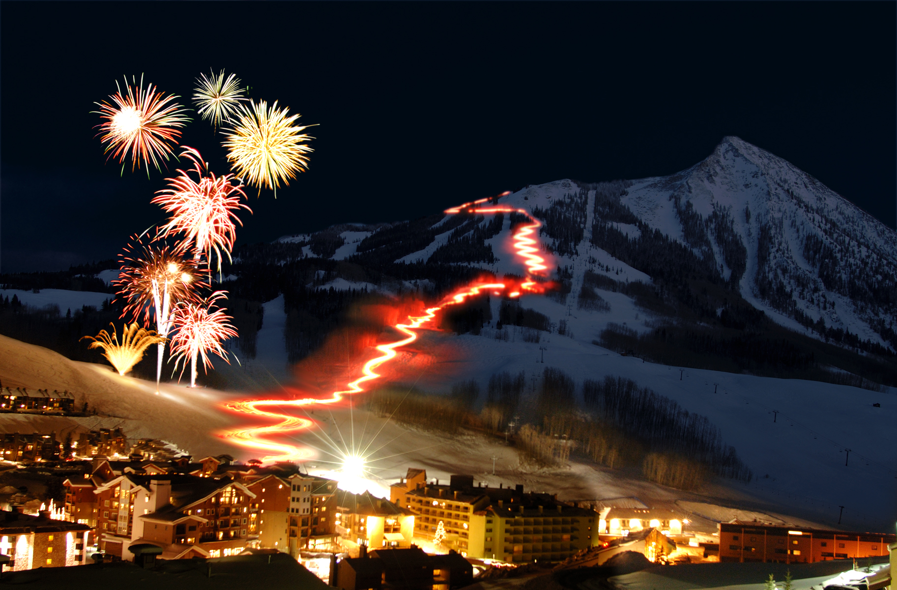 Torchlight parade and fireworks at Crested Butte Mountain Resort. Save up to $300 when you fly directly into Gunnison regional airport (photo supplied by CBMR)