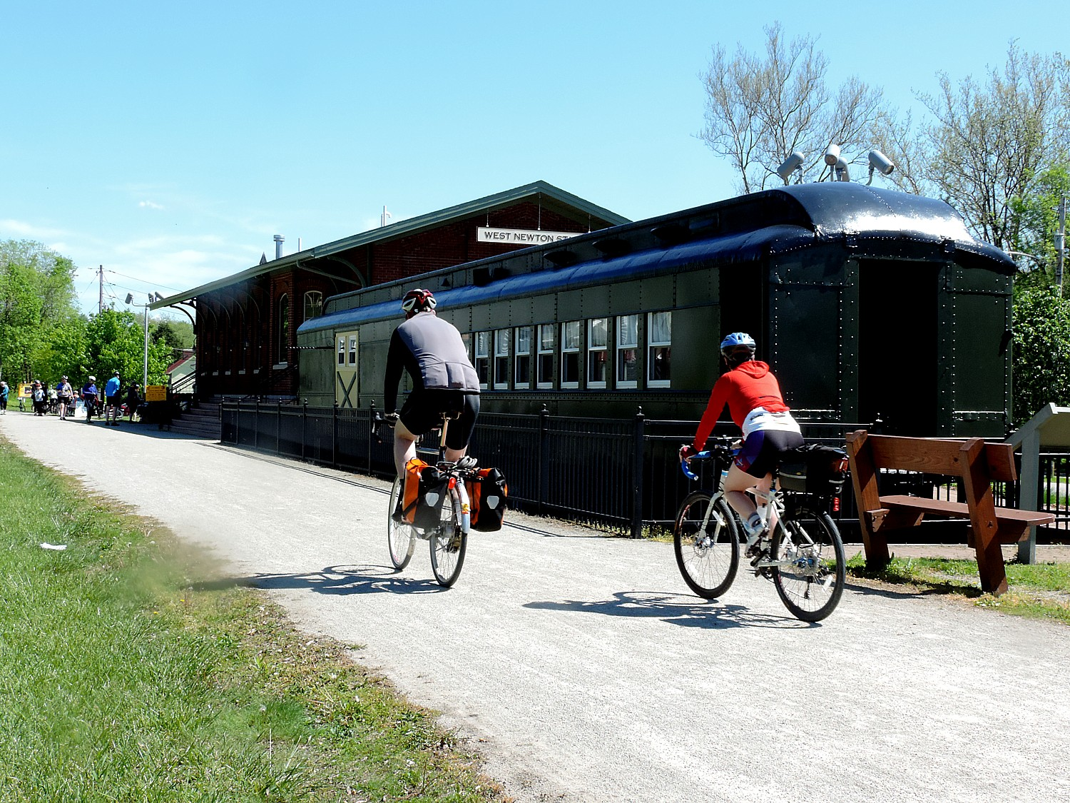 West Newton has a replica of the 1910 P&LE train station, now a historical society and visitors center and retail shop, with a historic train car outside © 2016 Karen Rubin/goingplacesfarandnear.com