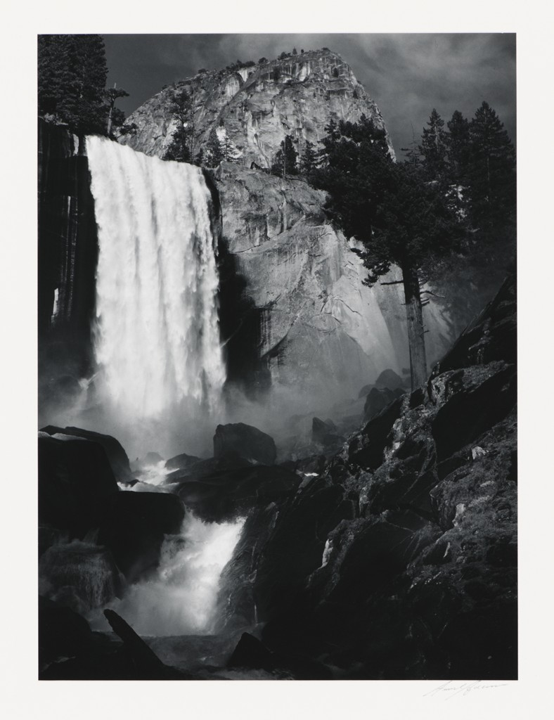 Ansel Adams, Vernal Fall, Yosemite Valley, California, 1920, gelatin silver print. Collection of the Kalamazoo Institute of Arts; Gift of Wm. John Upjohn. ©The Ansel Adams Publishing Rights Trust.