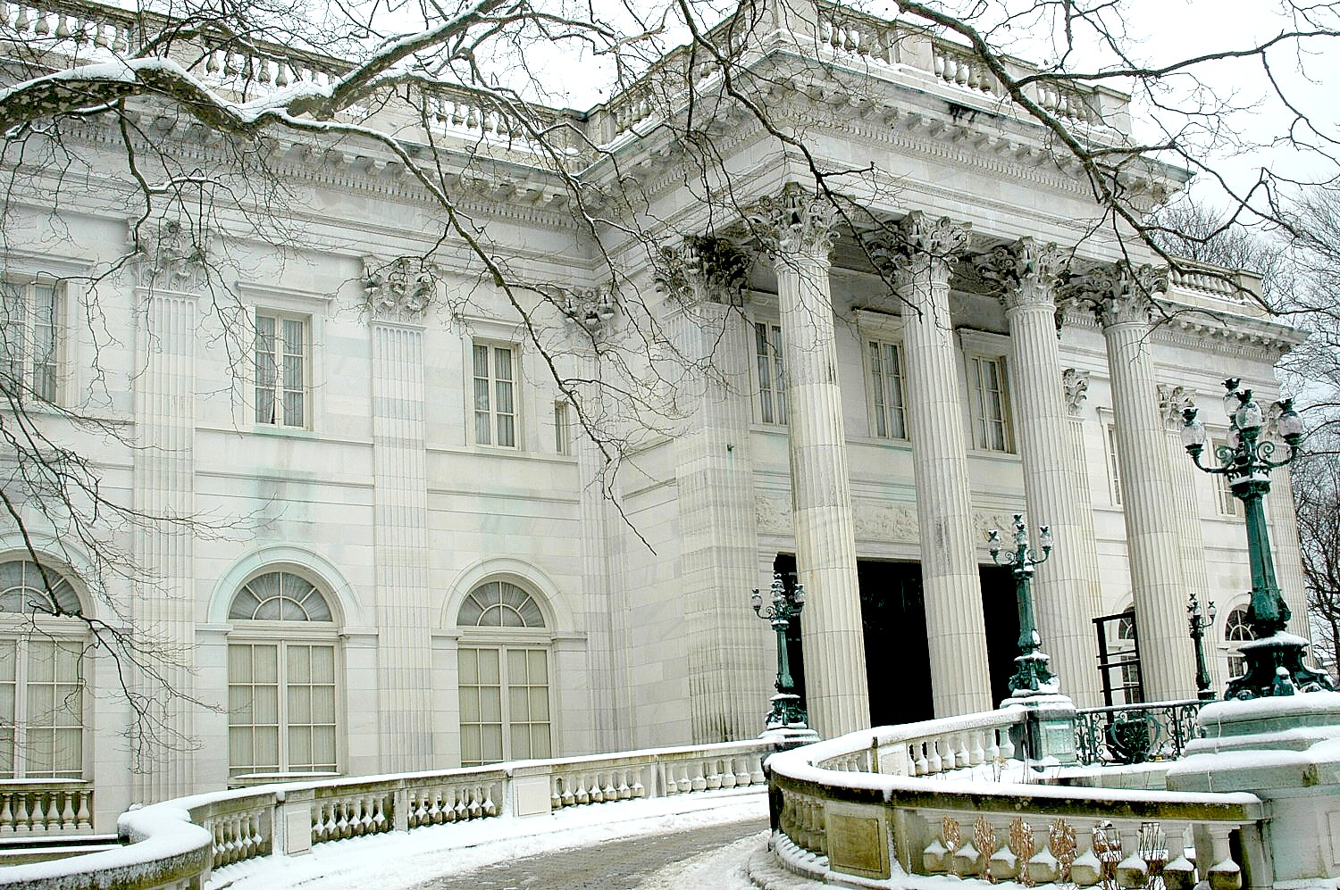 "Marble House, a grand stage for Alva Vanderbilt's climb to social and political power, first as a leading society hostess and later as a leader of the ""Votes for Women"" campaign, is one of the special venues for Newport Christmas © 2016 Karen Rubin/goingplacesfarandnear.com"