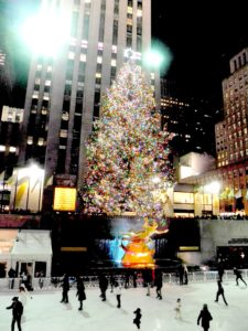 Skating beneath the famous Christmas Tree at Rockefeller Center City © 2016 Karen Rubin/goingplacesfarandnear.com