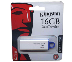 Kingston DataTraveler G4 USB 3.0 Flash Drive - 16GB  (White + Blue)