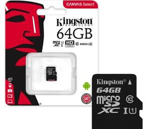 Kingston Canvas Go Micro SD SDHC Memory Card 90MB/s UHS-1 V30 Class 10 with SD Adapter - 64GB