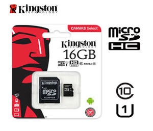 Kingston Micro SD SDHC Memory Card - 16GB - Class 4 with Full Size SD Card Adapter