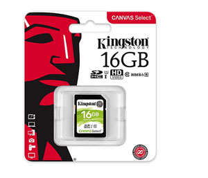 Kingston SD SDHC UHS-I Canvas Select 80MB/s Class 10 - 16GB