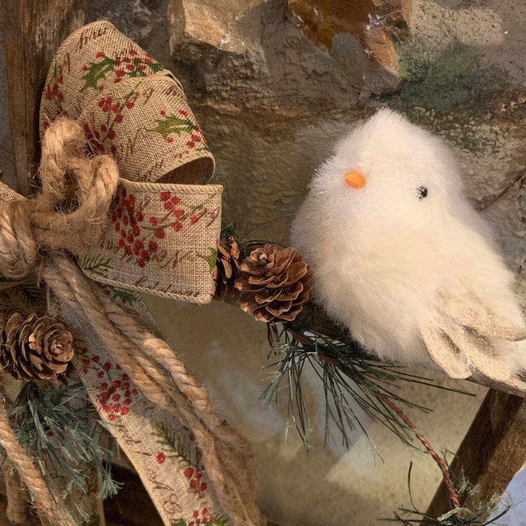 winter decor bird and bow