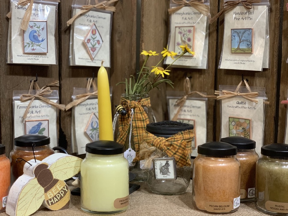 bee happy sign candles and folk art pins