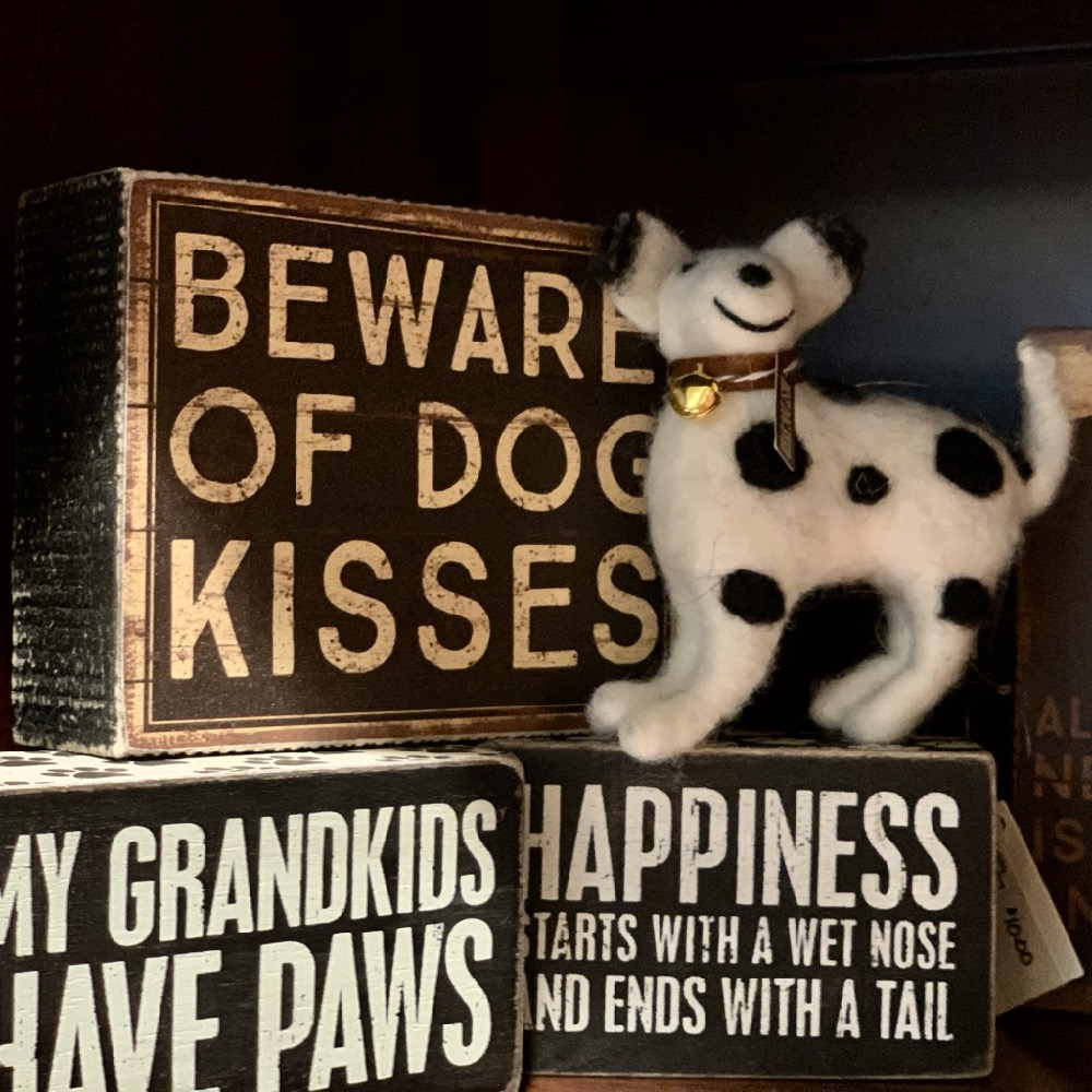 dog themed wood signs and dalmation ornament