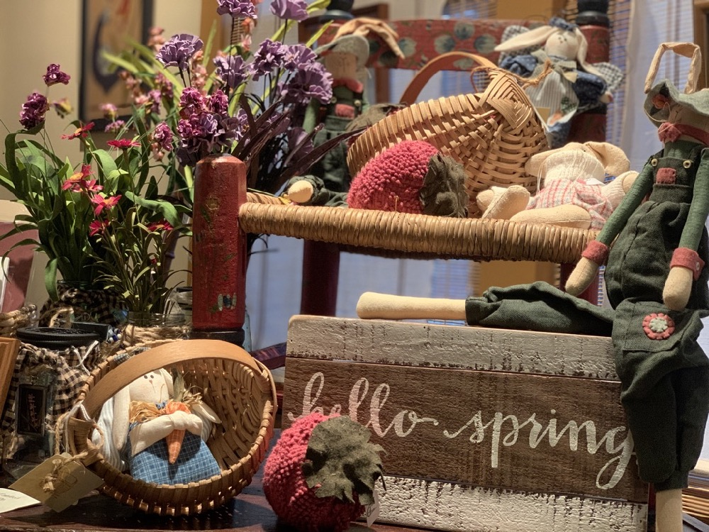 hello spring wood sign and easter bunny decor