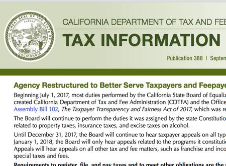 California Tax Update 11/1/2017