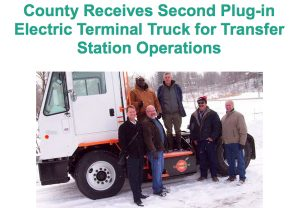 Pictured from left to right: Mike Saxton of Orange EV; Paul Abram of the Chautauqua County Department of Public Facilities; Bryan Davis of Orange EV; Kelly Rhinehart and Steve Rexford of the Chautauqua County Department of Public Facilities Division of Solid Waste; and Bob Reuther of White Oak Power.