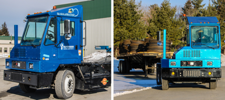 The Dimension Fabricators pure-electric yard truck manufactured by Orange EV.